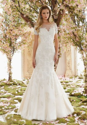 Style 6832 - Delicately Beaded Venice Lace Appliques on Soft Net Wedding Dress