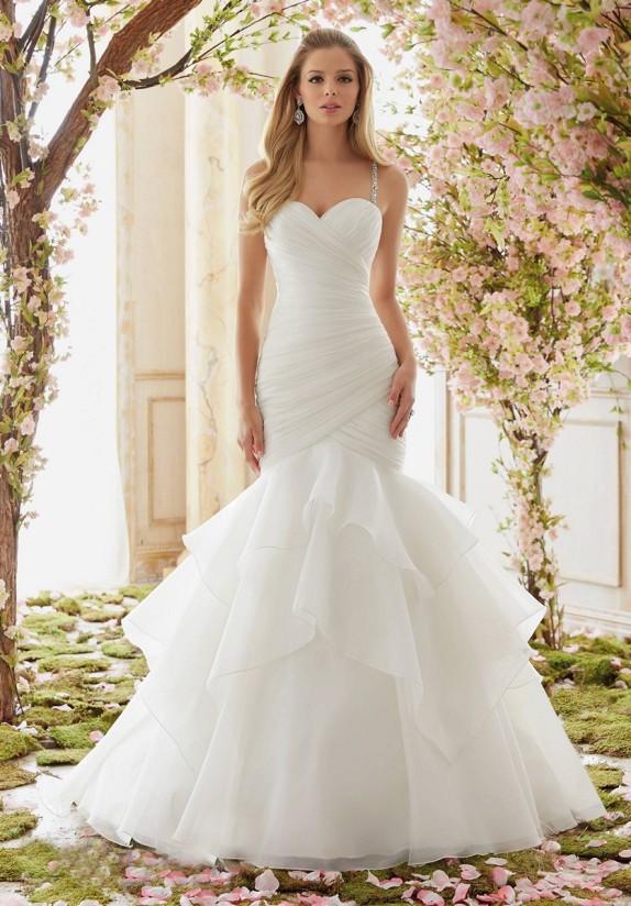 Style 6833 - Crystal Beaded Straps on Organza Wedding Dress