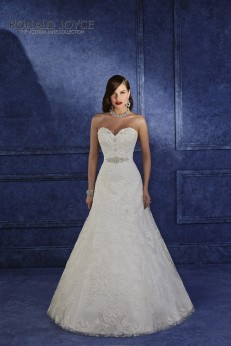 Olbia - A ROMANTIC LACE A-LINE LOOKING SILHOUETTE WITH STRAPLESS, SWEETHEART NECKLINE AND A BEADED GROSGRAIN BELT