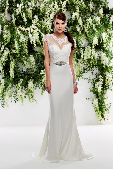 Oriana - A SATIN SLIM FIT DRESS WITH LACE BODICE, CAP SLEEVES AND OPEN BACK DETAIL