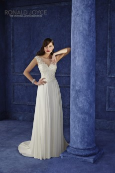 Ottavia - A BEAUTIFULLY DESIGNED CHIFFON DRESS WITH SUBTLE PLEATED SKIRT, LACE BODICE WITH ILLUSION BACK